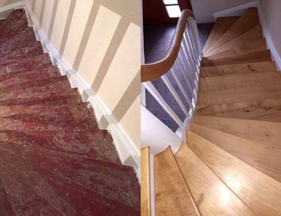 Treppenrenovierung Vorher-Nachher