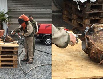Schulung Sandstrahlen als Oberflächenbehandlung mit Parkett Remel