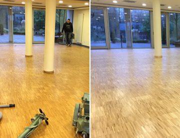 Vor und nach der Renovierung des Eichenparketts in Coesfeld