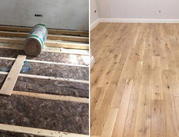 Vorher-Nachher-Bild: Dielenboden mit Unterkonstruktion erneuert