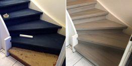 Gleiches Laminat für Treppe und Boden – Renovierung mit trenovo