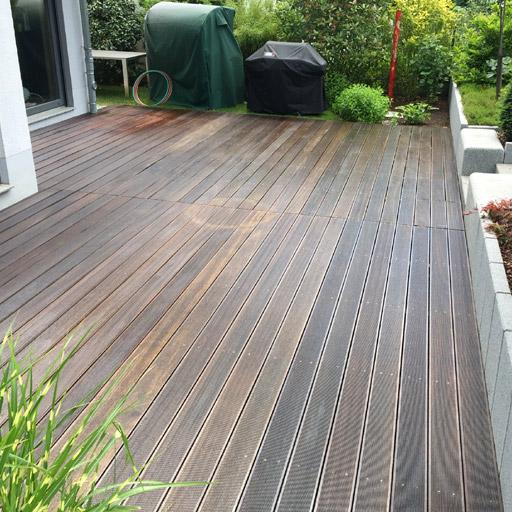 Terrasse nach der Reinigung ohne Öl