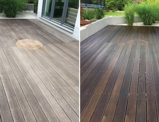 Terrasse vor und nach der Reinigung