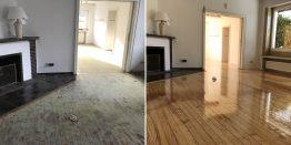Bodenrenovierung in NRW: Teppichkleber von Dielen entfernt.
