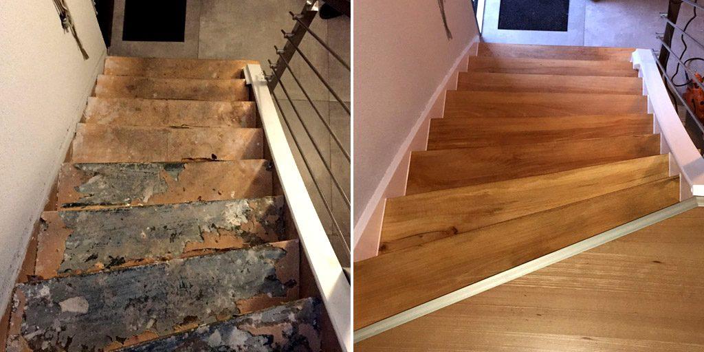 Treppensanierung mit Parkett: Vorher-Nachher-Vergleich