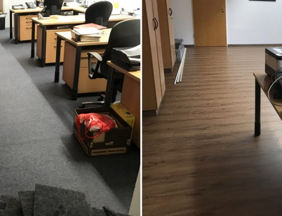 Boden verlegen in möblierten Räumen
