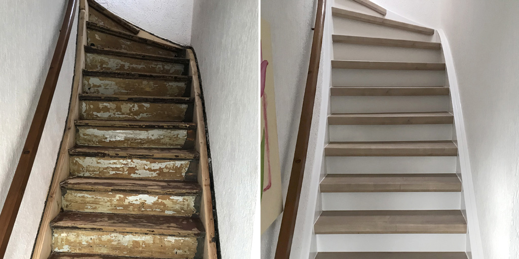 trenovo treppe mit laminat renovieren in bochum parket. Black Bedroom Furniture Sets. Home Design Ideas