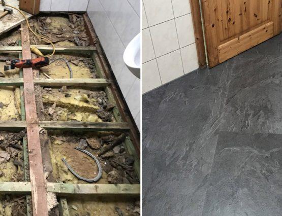 Wasserschaden im Bad: Designbelag statt Fliesen in Lüdinghausen