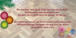 Betriebsferien Weihnachten 2020 von Parkett Remel
