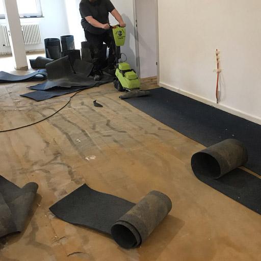 Bodenrenovierung: Teppich mit Stripper entfernen zur Vorbereitung der Parkettverlegung