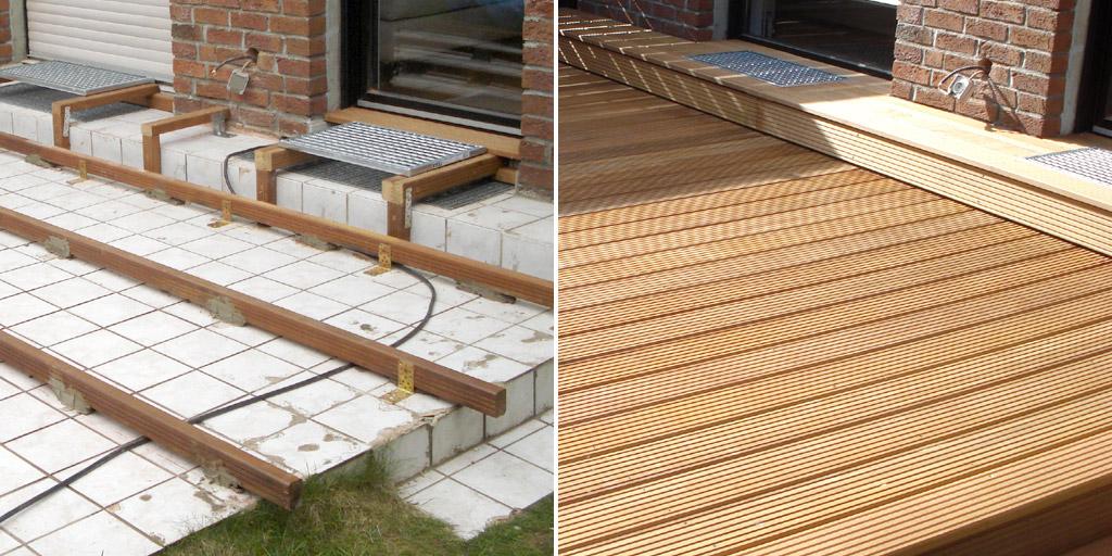 Bestehende Terrasse mit Holz belegen: Terrassenrenovierung vorher und nachher